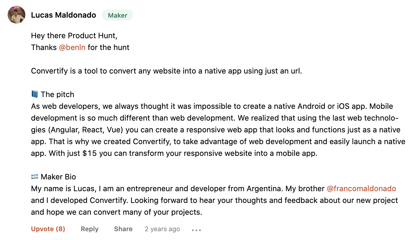 Convertify Product Hunt Comment